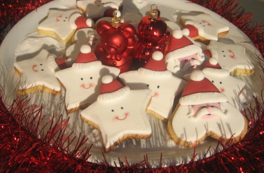 Segnaposto Natalizi Biscotti.Babbo Natale E Stelline Cristallo Di Zucchero